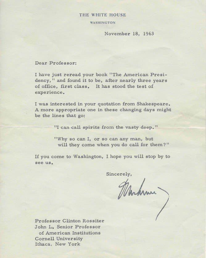 Letter from JFK to Clinton Rossiter '39